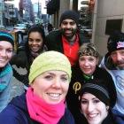 Enjoying a winter running tour in Downtown Pittsburgh