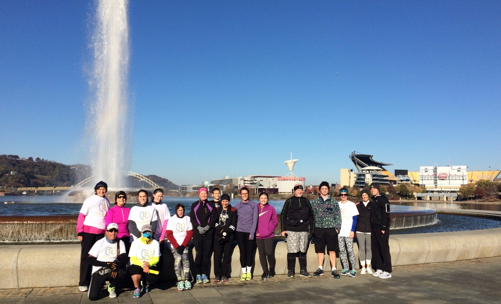 Runners on our Downtown 5k Tour at Point State Park
